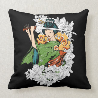Sword Wielding Geisha Pillow