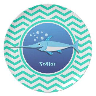 Swordfish Aqua Green Chevron Party Plates