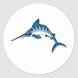 Swordfish Leap Classic Round Sticker