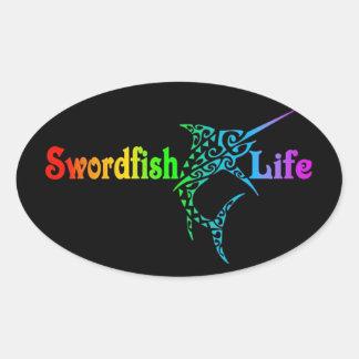 Swordfish Life Oval Sticker