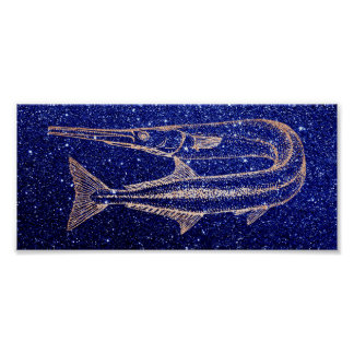Swordfish Ocean Life Sea Rose Gold Blue Navy Poster