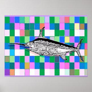 Swordfish on the Tiles Pop Art Poster