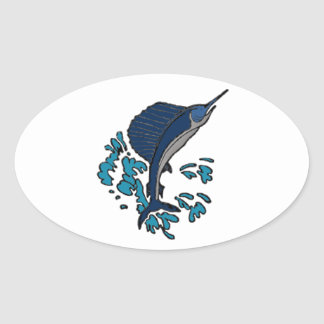 Swordfish Oval Sticker