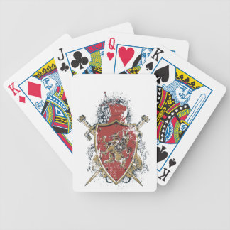 swords and red design bicycle playing cards