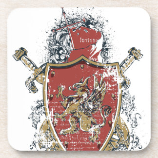 swords and red design coaster
