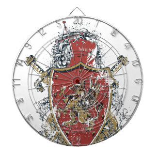 swords and red design dartboard