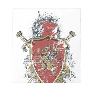 swords and red design notepad