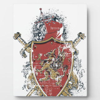 swords and red design plaque