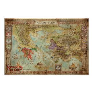 Swords of Kos: Aegean Regional Campaign Map Poster