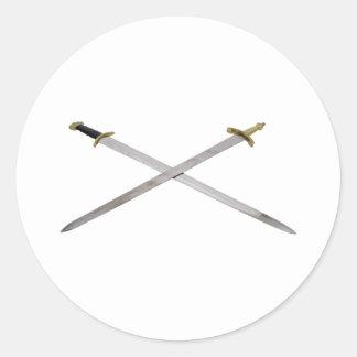 SwordsCrossed061209 Round Sticker