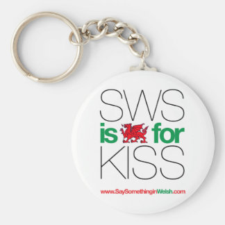SWS is the Welsh for Kiss! Basic Round Button Keychain