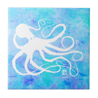 Sybille's Octo On Lt Blue L - Small Ceramic Tile
