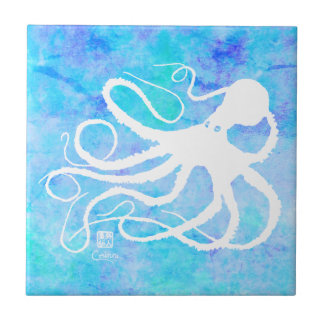 Sybille's Octo On Lt Blue R - Small Ceramic Tile