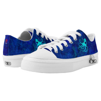 Sybille's Octopus On Blue - Low Top Sneakers