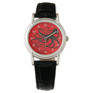 Sybille's Octopus On Red - Women's Watch