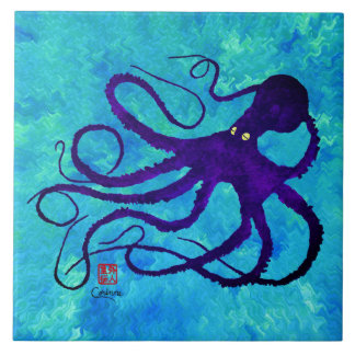 Sybille's Octopus R - Large Ceramic Tile
