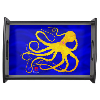 Sybille's Octopus Yellow on Blue - Sm Serving Tray