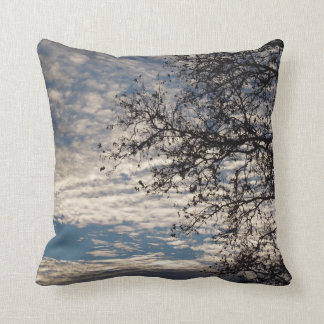 Sycamore Tree in Cloudy Sky near Sundown in Winter Throw Pillow