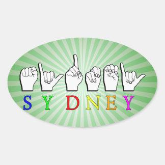 SYDNEY  ASL FINGERSPELLED SIGN OVAL STICKER