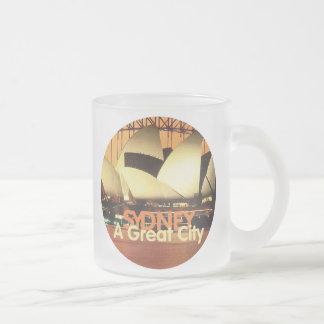 SYDNEY Australia 10 Oz Frosted Glass Coffee Mug