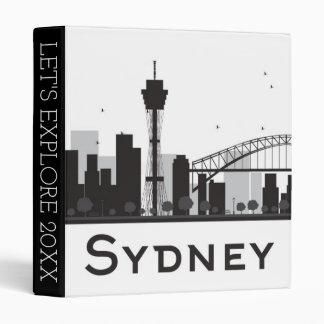 Sydney, Australia | Black & White City Skyline 3 Ring Binder
