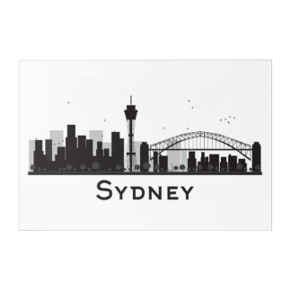 Sydney, Australia | Black & White City Skyline Acrylic Wall Art