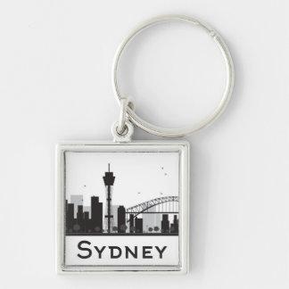 Sydney, Australia | Black & White City Skyline Keychain