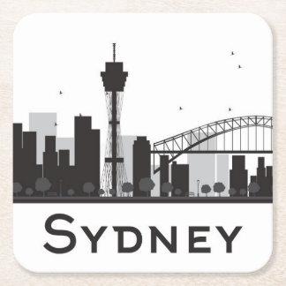 Sydney, Australia | Black & White City Skyline Square Paper Coaster
