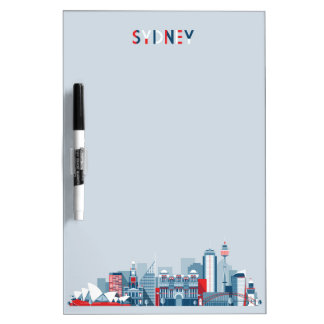 Sydney Australia City Skyline Dry Erase Board