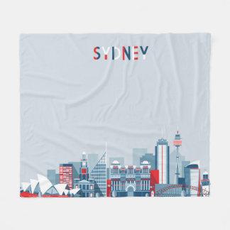 Sydney Australia City Skyline Fleece Blanket
