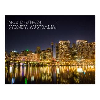 Sydney Australia Darling Harbor At Night Postcard