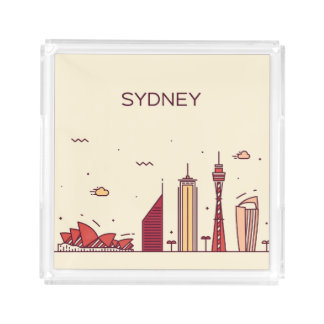 Sydney, Australia | Doodle Skyline Acrylic Tray
