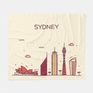 Sydney, Australia   Doodle Skyline Fleece Blanket