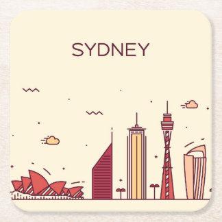 Sydney, Australia | Doodle Skyline Square Paper Coaster