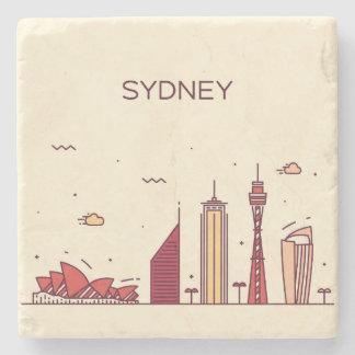 Sydney, Australia   Doodle Skyline Stone Beverage Coaster