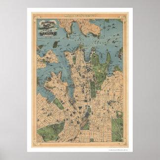 Sydney Australia Map 1922 Poster