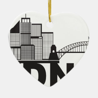 Sydney Australia Sklyine Text Outline Ceramic Ornament