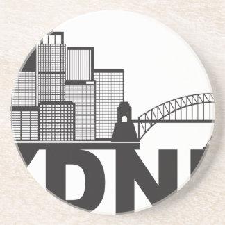 Sydney Australia Sklyine Text Outline Coaster
