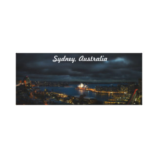 Sydney Australia Stormy Cityscape At Night Canvas Print