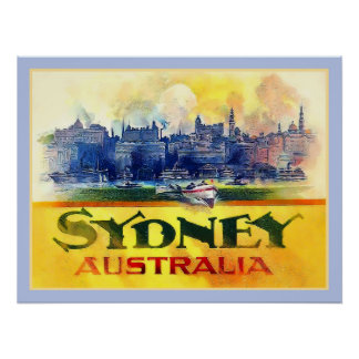 Sydney Australia Vintage Print Travel Advert