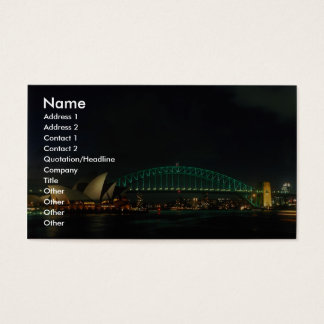 Sydney Bridge and Opera House at night, Australia Business Card