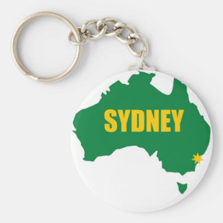 Sydney Green and Gold Map Basic Round Button Keychain