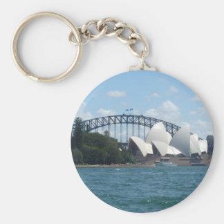sydney harbour basic round button keychain