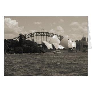 sydney harbour black white card