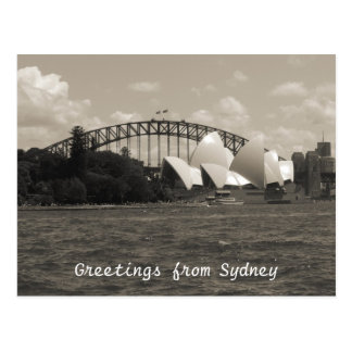 sydney harbour grey postcard