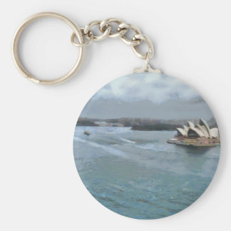 Sydney Opera house and water in front Basic Round Button Keychain