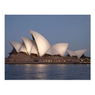 Sydney opera house at dusk postcard