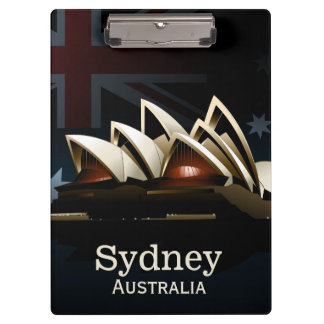 Sydney opera house at night clipboard