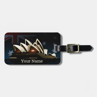Sydney opera house at night luggage tag
