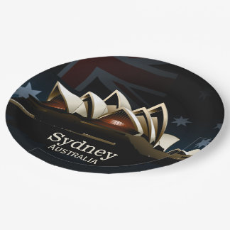 Sydney opera house at night paper plate